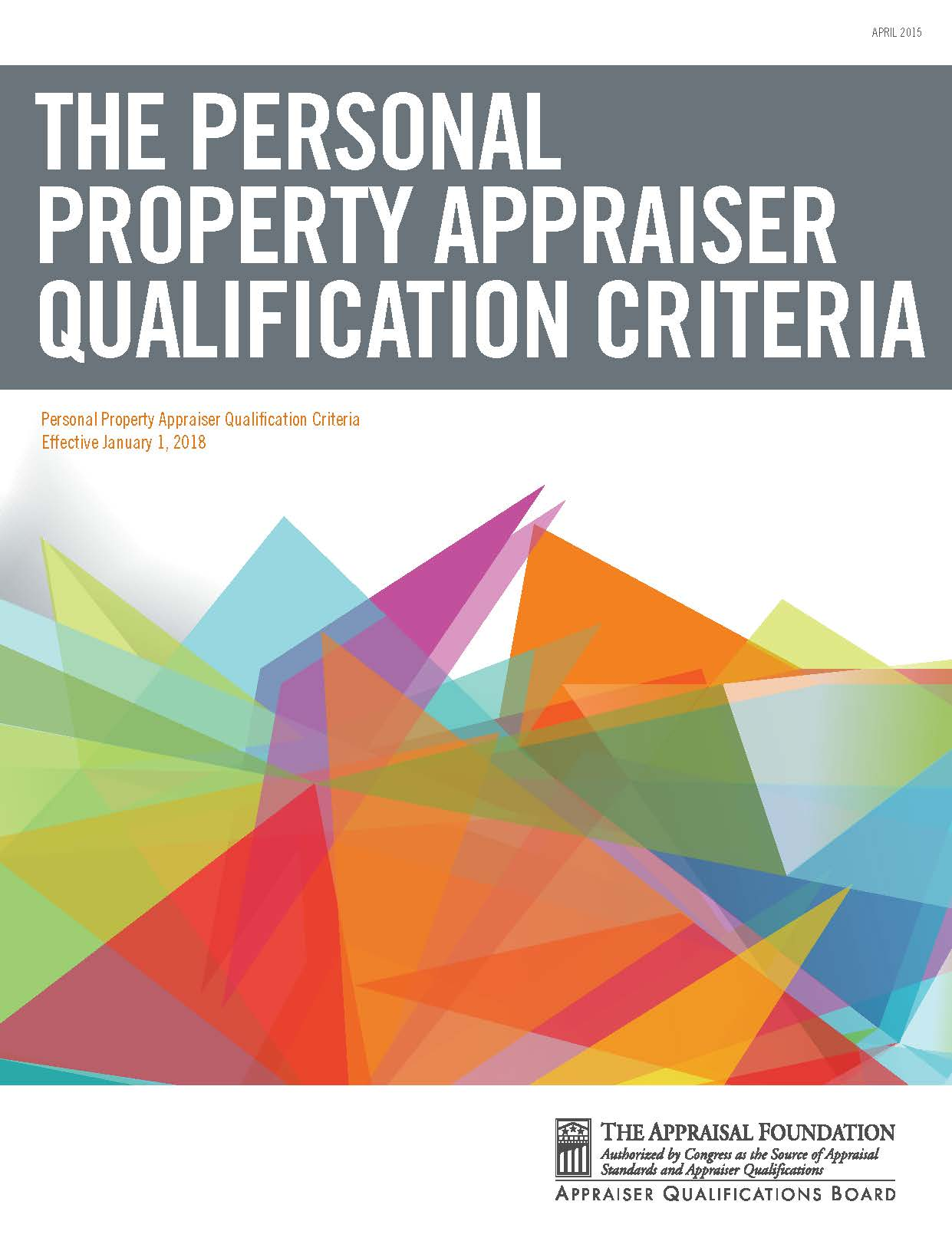 Personal Property Appraiser Qualification Criteria